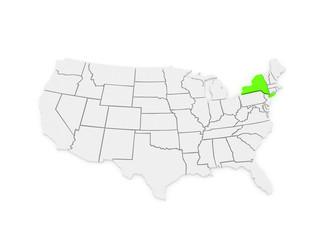 Three-dimensional map of New York. USA.