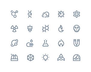 Science icons. Line series