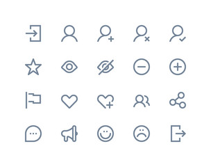 Social and communication icons. Line series