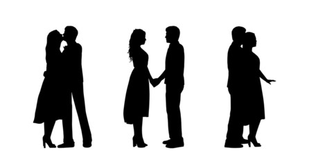couple in love silhouettes set 1