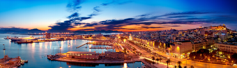 Panoramic view of Cagliari by night