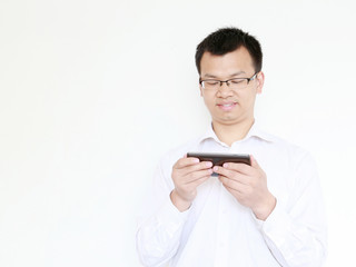 young  business man play phone