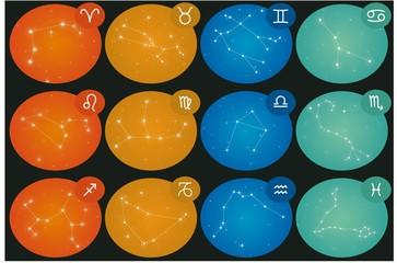 12 Zodiac constellations