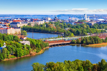 Tuinposter Scandinavië Aerial panorama of Helsinki, Finland