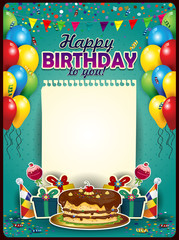 Happy birthday with a sheet of paper vertical