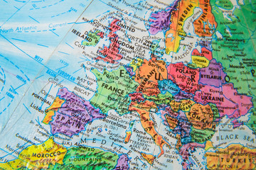 Fotobehang Oost Europa World Globe Map close up of Europe