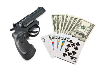 revolver, cards and money