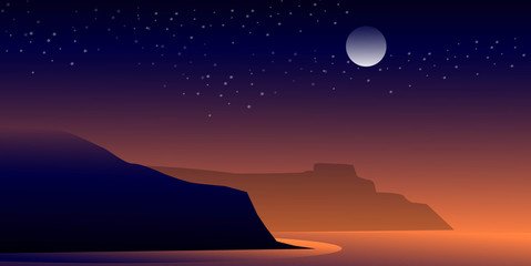Cliff at Night-Vector