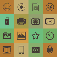 Retro style  mobile phone icons connection vector set.
