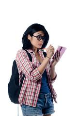 Nerd Asian College Girl Write a Note
