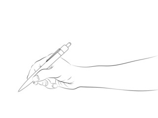 isolated human hand side view holding ballpoint sketch vector