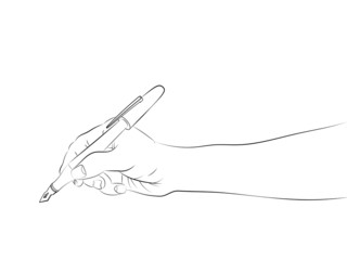 isolated human hand side view holding pen sketch vector