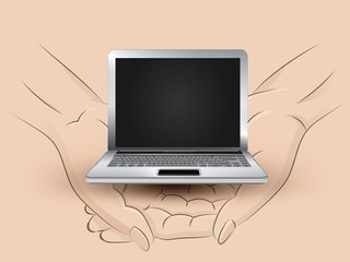 new laptop hold two human hands across vector