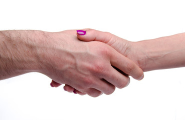 Woman's hand shaking a man's hand