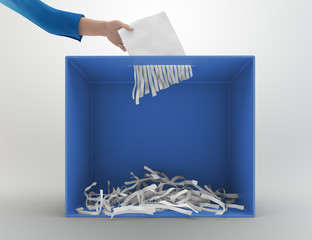 Paper shredder ballot box