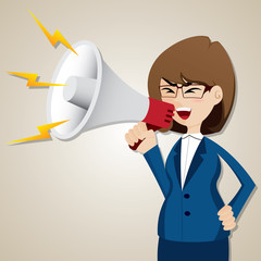 cartoon businesswoman shout out with megaphone