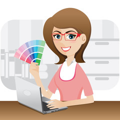 cartoon girl graphic designer showing color chart
