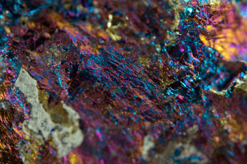 Crystal,nugget, gold, bronze, copper, iron. Macro.