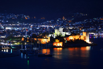 View of Bodrum harbor by night. Turkish Riviera