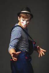 Grimacing clown