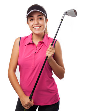 pretty woman holding a golf club isolated on white background