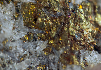 Nugget, gold, bronze, copper.  Macro. Extreme closeup