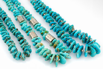 Navaho Turquoise Nugget Necklaces with Silver Beads.