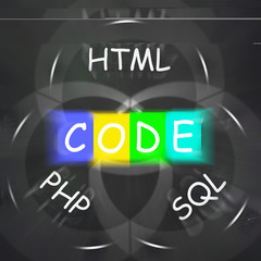 Words Displays Code HTML PHP and SQL