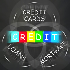 Financial Words Displays Credit Mortgage Banking and Loans