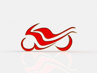 Abstract racing motorcycle on a white background