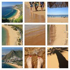 famous beach : Playa de Las Teresitas  on Tenerife  -collage