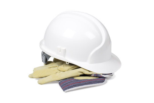 Protection helmet and gloves isolated with clipping path.