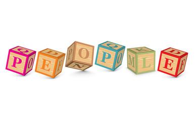 Word PEOPLE written with alphabet blocks