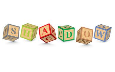 Word SHADOW written with alphabet blocks