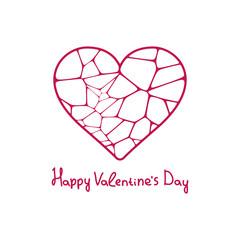 Graphic beautiful geometric heart. EPS 10