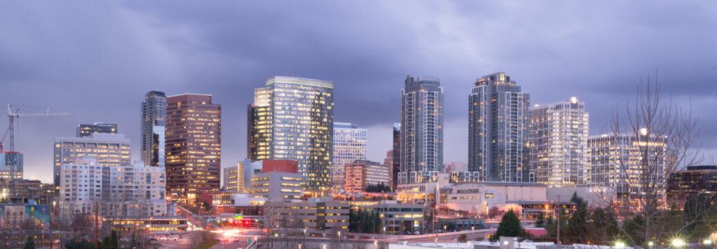 Bright Lights City Skyline Downtown Bellevue Washington USA
