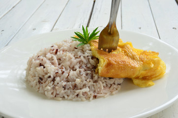rice with omelet and sauce Pepper