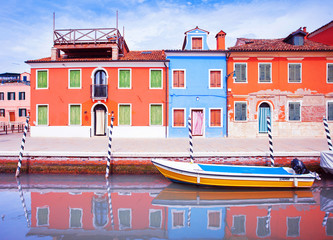 Colorful canal, Burano, Venice, Italy