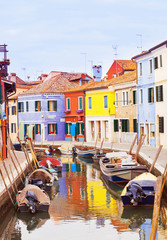 Colorful street in Burano island, near Venice, Italy