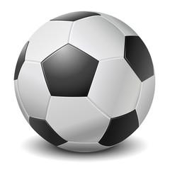 Detailed black fringe football ball isolated on white background
