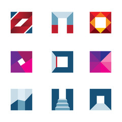 Geometric cube polygons walking to success logo icon
