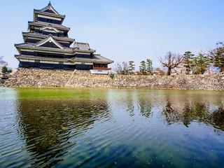 Matsumoto castle with blue sky in spring season