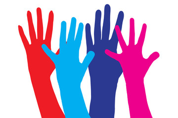 Colour vector silhouettes of hands.
