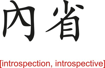 Chinese Sign for introspection, introspective