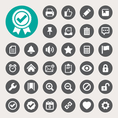 Computer and application interface  icon set