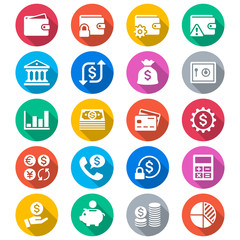 Financial management flat color icons