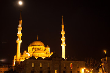New mosque at night in Istanbul
