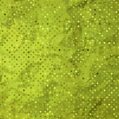 Aged green and worn paper with polka dots. EPS 8