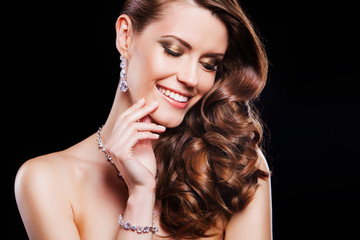 beauty portrait of happy woman with luxury accessories.