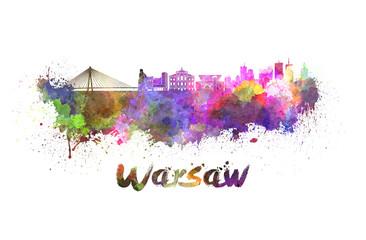 Warsaw skyline in watercolor